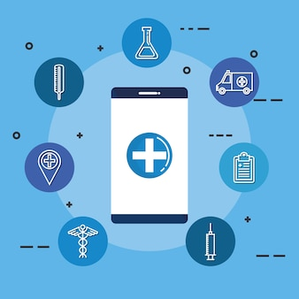 Smartphone with telemedicine icons