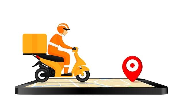 男の笑顔とバイクに乗って配達のためのスマートフォン
