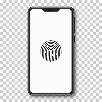 Смартфон с сенсорным экраном, интерфейсом сканирования отпечатков пальцев и пользовательским интерфейсом Premium векторы