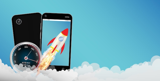 A smartphone with toy rocket