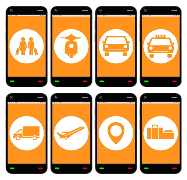 A smartphone with transport apps icon