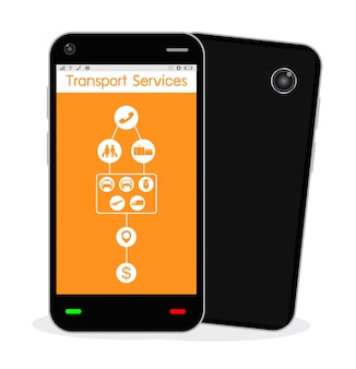 A smartphone with transport service application