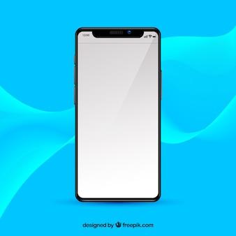現実的なスタイルの白い画面のiphone x