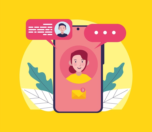 여자와 메시징 아이콘이 있는 스마트폰