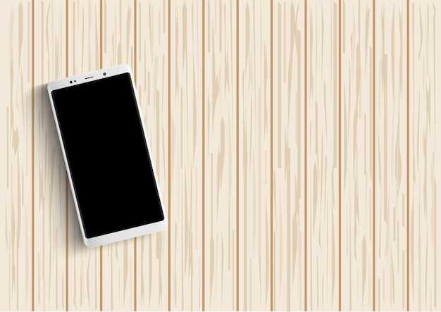 Smartphone on wooden table. vector illustration.