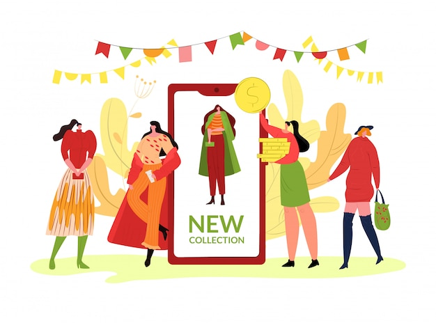 Мода осень коллекция одежды, иллюстрации. характер людей девушки в одежде стиля сезона, тенденции падения на smartphone. модельный характер представляя на уличном шоу шаржа.