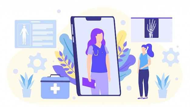 Онлайн иллюстрация доктора, доктор советует с пациентом на smartphone.