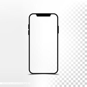 透明なスクリーンと背景を持つモックアップ新バージョンsmartphone
