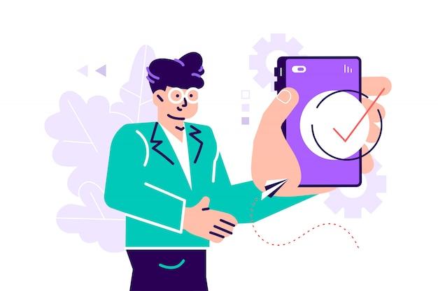 Красивый бизнесмен показывая дисплей smartphone с успешным концом контрольной пометки вверх и подмигивая. дружелюбный мужской персонаж. плоский стиль современный дизайн иллюстрация для веб-страницы, карты, социальные медиа