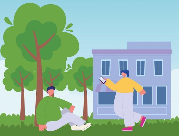 Деятельность людей, девушка с smartphone и мальчик сидя на траве напольная иллюстрация