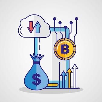 Финансовая технология с дизайном иллюстрации значка smartphone