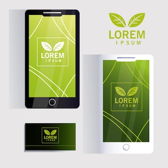 Smartphones and business card for identity brand illustration design Premium Vector