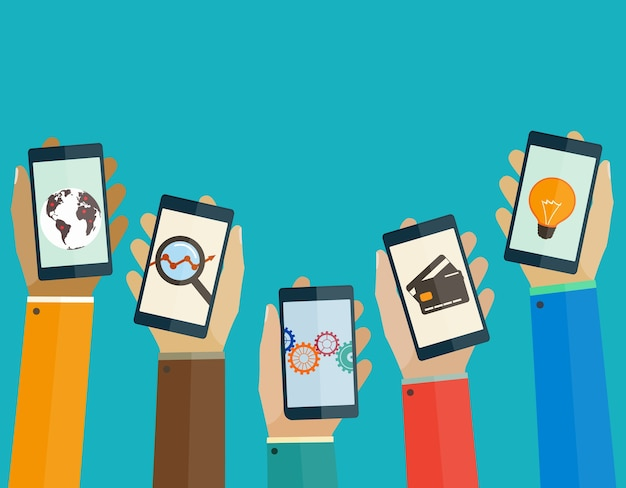 Smartphones in hands people with business icons. mobile concept.