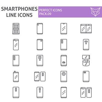 Smartphones line icon set, communication collection