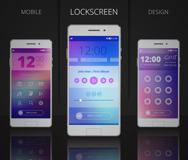 Smartphones lock screen designs