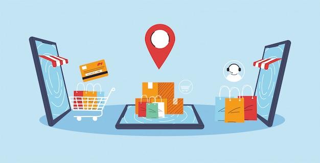 スマートフォンは、店頭、オンラインショッピング、デジタルマーケティングの正面を表しています。