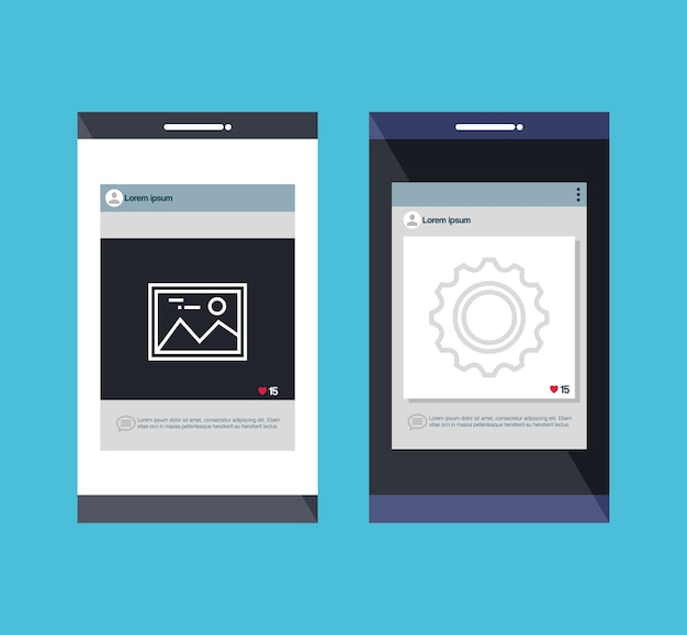 Smartphones set isolated icons