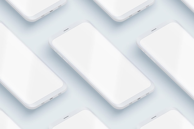 Smartphones ui layout in perspective.