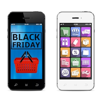 Smartphones with black friday sale promotion banner and shopping icons