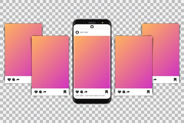 Smartphones with social media frame.