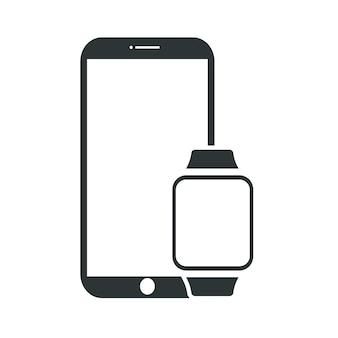 Smartwatch и мобильный на белом