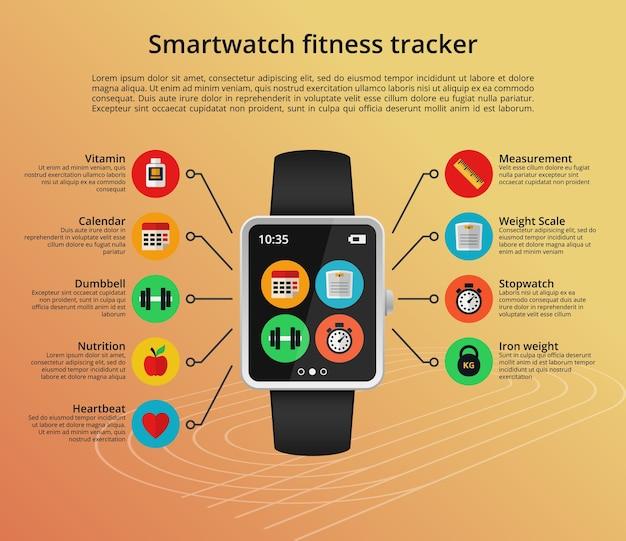 평면 스타일의 smartwatch 피트니스 추적기 개념