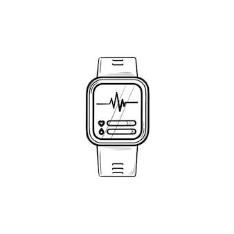 Smartwatch 손으로 그린 개요 낙서 아이콘입니다. 디지털 시계, 인터넷 가제트, 피트니스 운동 액세서리 개념. 인쇄, 웹, 모바일 및 흰색 배경에 인포 그래픽에 대한 벡터 스케치 그림.