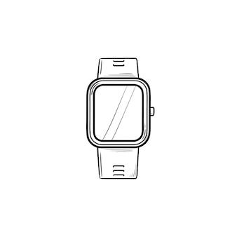 Smartwatch 손으로 그린 개요 낙서 아이콘입니다. 스마트 액세서리 및 디지털 시계, 무선 가제트 개념. 인쇄, 웹, 모바일 및 흰색 배경에 인포 그래픽에 대한 벡터 스케치 그림.
