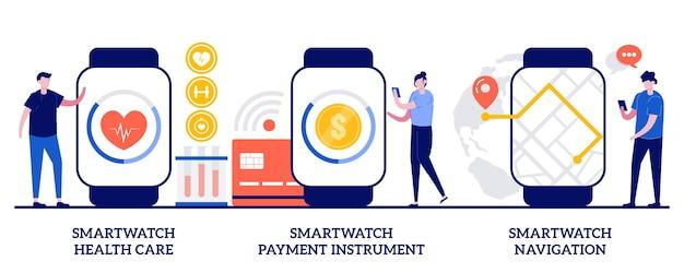 スマートウォッチヘルスケア、スマートウォッチ支払い手段、小さな人々とのスマートウォッチナビゲーションコンセプト。デジタル腕時計機能とアプリケーションは、抽象的なベクトルイラストセットを使用しています。