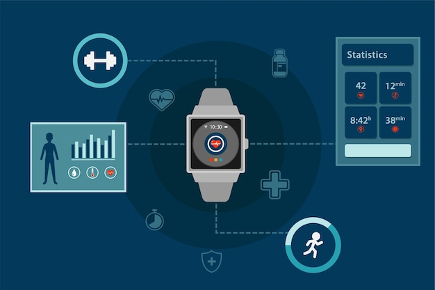 Smartwatch infographic health monitoring technology