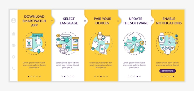 Smartwatch initial setup onboarding template