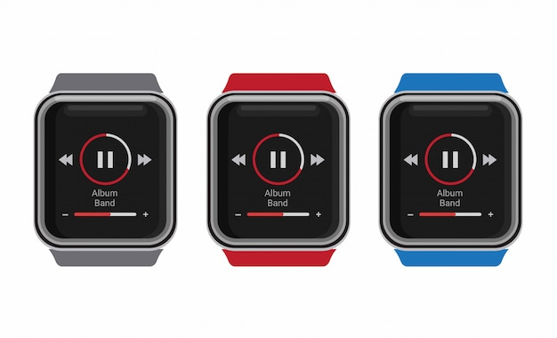 Smartwatch music player in realistic mockup template illustration editable isolated in white background