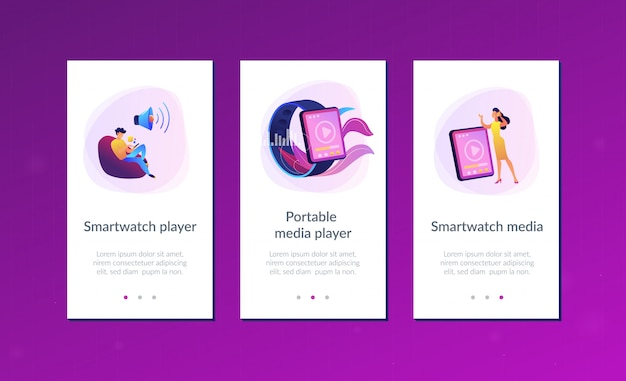 Шаблон интерфейса приложения smartwatch player.