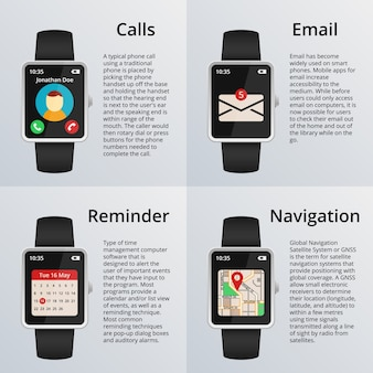 Smartwatch. receiving calls and unread messages, navigation map and calendar. technology and design, watch and email.