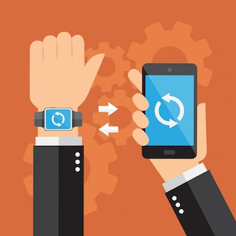 Smartwatch and smartphone synchronized