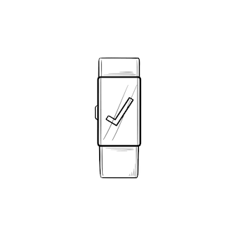 Smartwatch с галочкой рисованной наброски каракули значок. цифровые часы, гаджет, концепция интерфейса часов