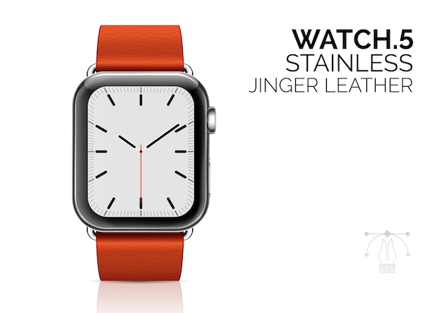 Smartwatch with ginger leather bracelet realistic  illustration.