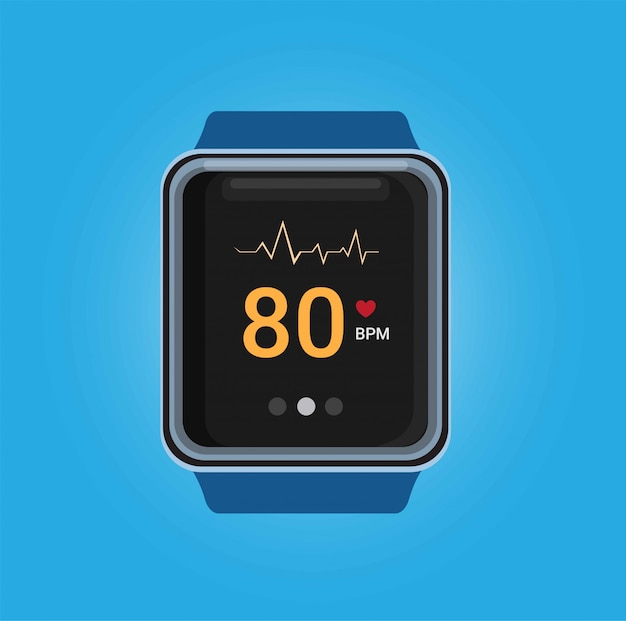 Smartwatch with heart beat rate check app in realistic illustration in blue background