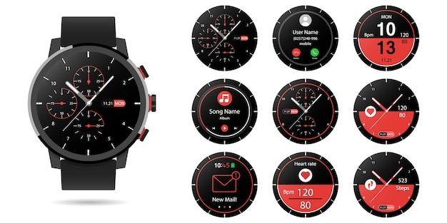 Smartwatch with multiple smart watch clock faces using flat design to customize icons