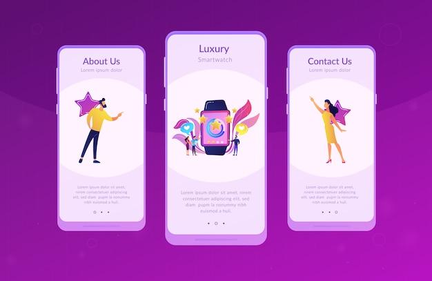 Шаблон интерфейса приложения smartwatch класса люкс.