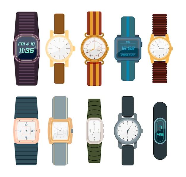 Наручные часы изолированные на белой предпосылке. мужчина и женщина цифровые и классические часы коллекции в плоском дизайне. коллекция модных часов для бизнесмена, smartwatch.