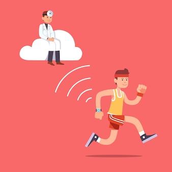 Человек работает бег с запястье smartwatch