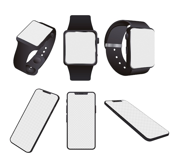 Smartwatches and smartphones mockup devices isolated