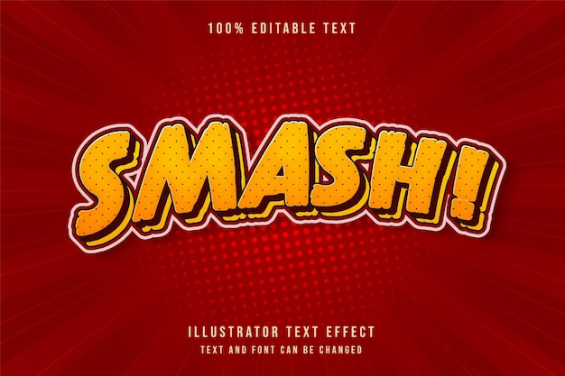 Smash!,3d editable text effect yellow gradation red shadow comic text style
