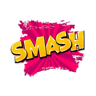Smash smack радиальные рисованные эффекты изображений комическое диалоговое облако текста