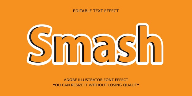 Smash vector editable text effect font on orange