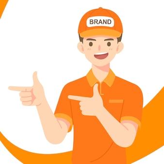 Smat delivery staf man in orange uniform and cap