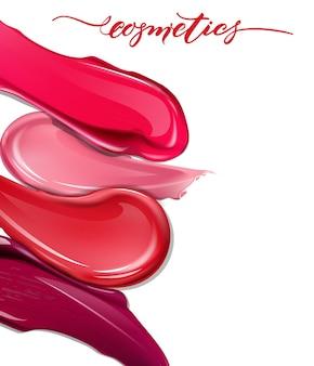 흰색 배경에 립스틱을 얼룩 화장품 상업 아름다운 스타일 현실적인 모형