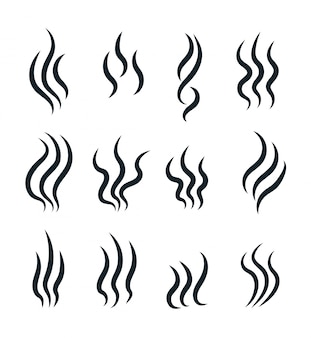 Smell icons. flowing heat, cooking steam warm aroma smells stinks mark, steaming vapour odour vector isolated line symbols