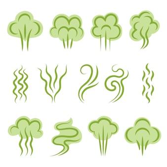 Smell symbols. aromas steam lines clouds vapour shapes scent odour  graphic set.